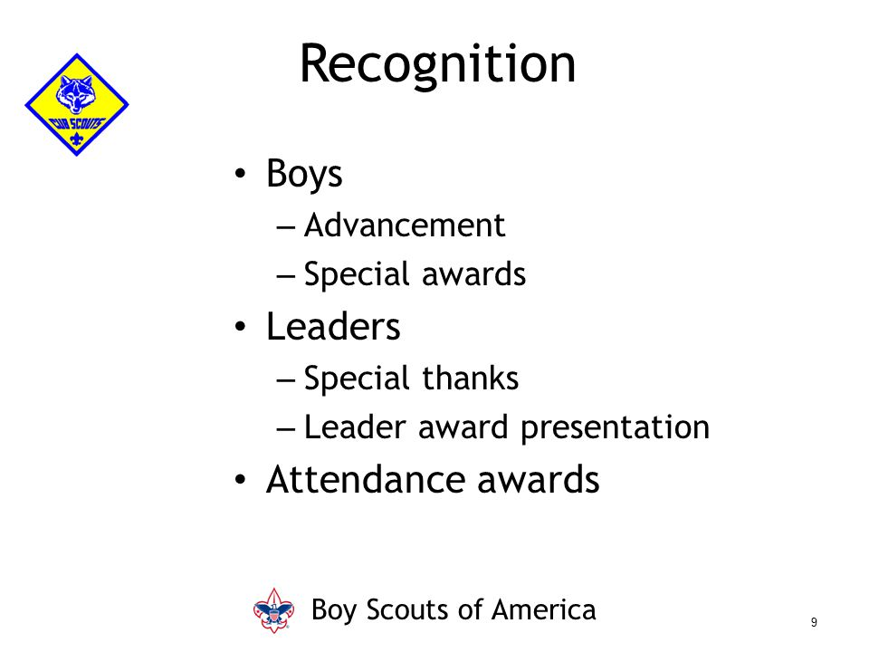 Recognition Boys Leaders Attendance awards Advancement Special awards
