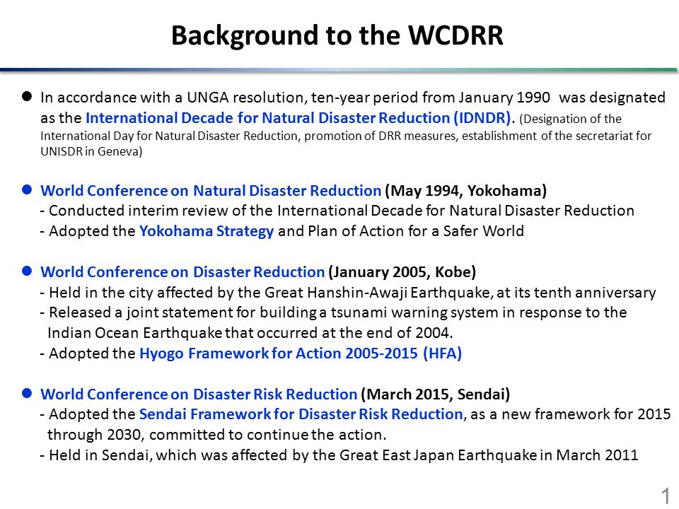 Outcomes of the WCDRR The conference was held in Sendai, from Saturday 14 to Wednesday 18 March.