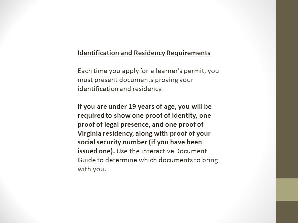 Identification and Residency Requirements