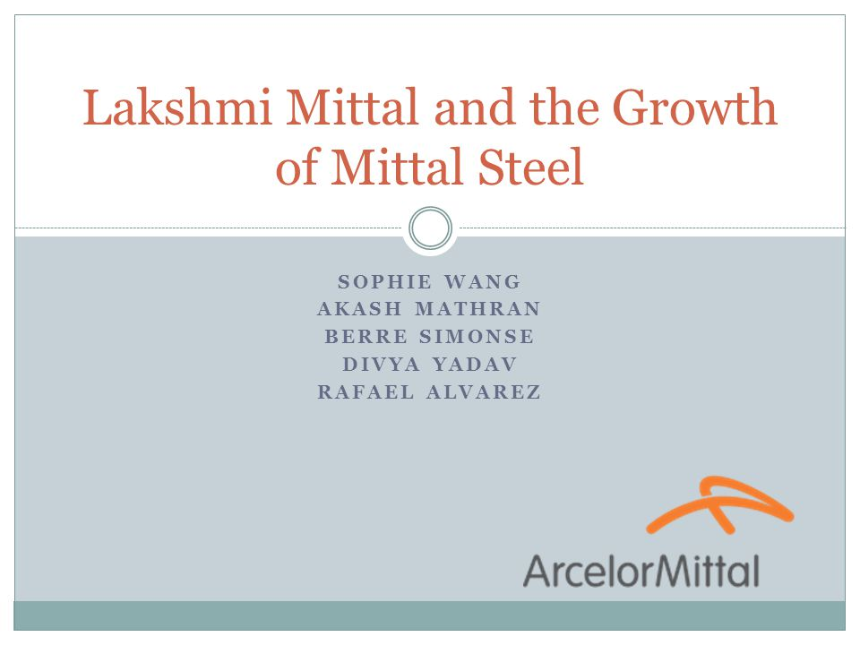 read the closing case lakshmi mittal and the growth of mittal steel Foreign direct investment read the closing case: lakshmi mittal and the growth of mittal steel at the end of chapter 7 and write a 3-4 page paper in apa format with a detailed analysis that answers the following questions.