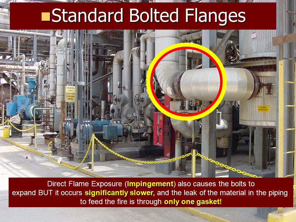 The problems with long bolt flanges in process pipe for Direct flame