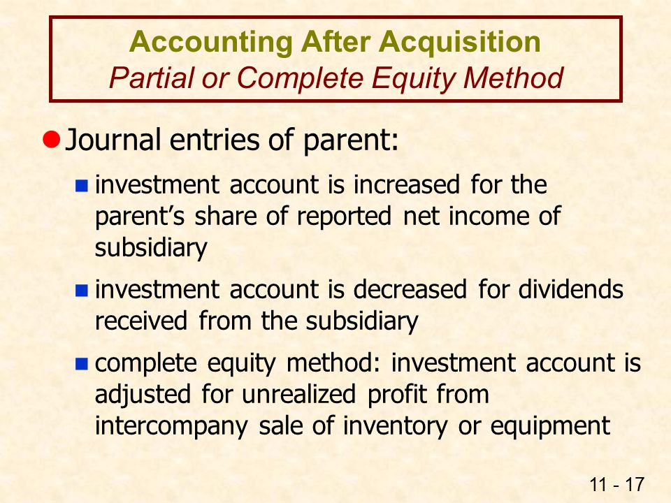 Accounting After Acquisition Partial or Complete Equity Method