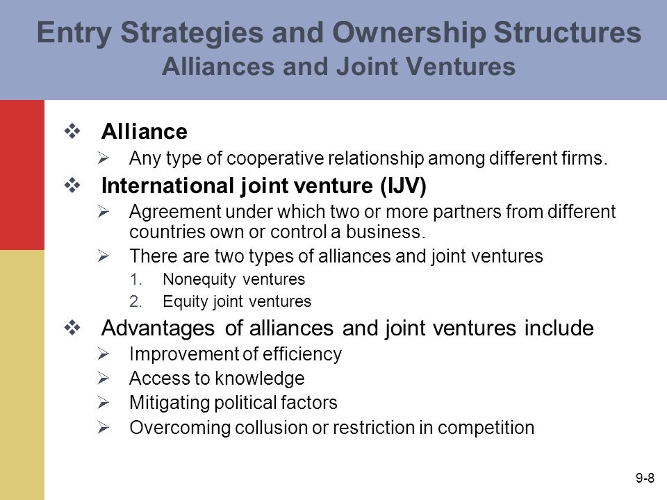 partner selection for international joint ventures ijv The most important single factor determining ijv research has shown that to facilitate this fit the partner selection international joint ventures.