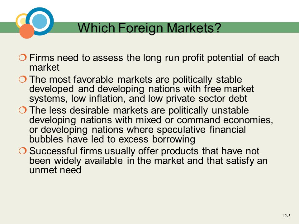 Which Foreign Markets Firms need to assess the long run profit potential of each market.