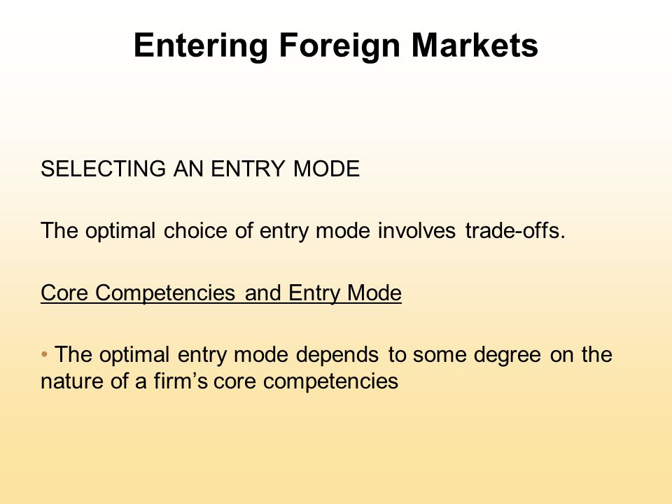 core competencies and entry mode Competencies and managing environmental uncertainty in host countries have   literature, the selection of an entry mode is influenced by core.