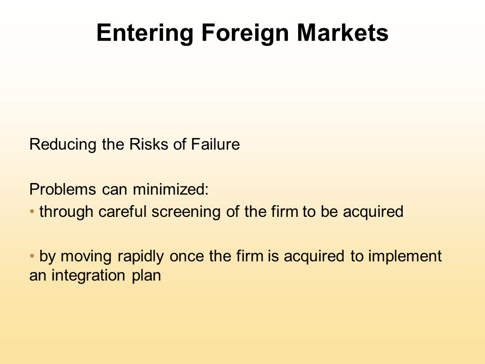 Entering Foreign Markets