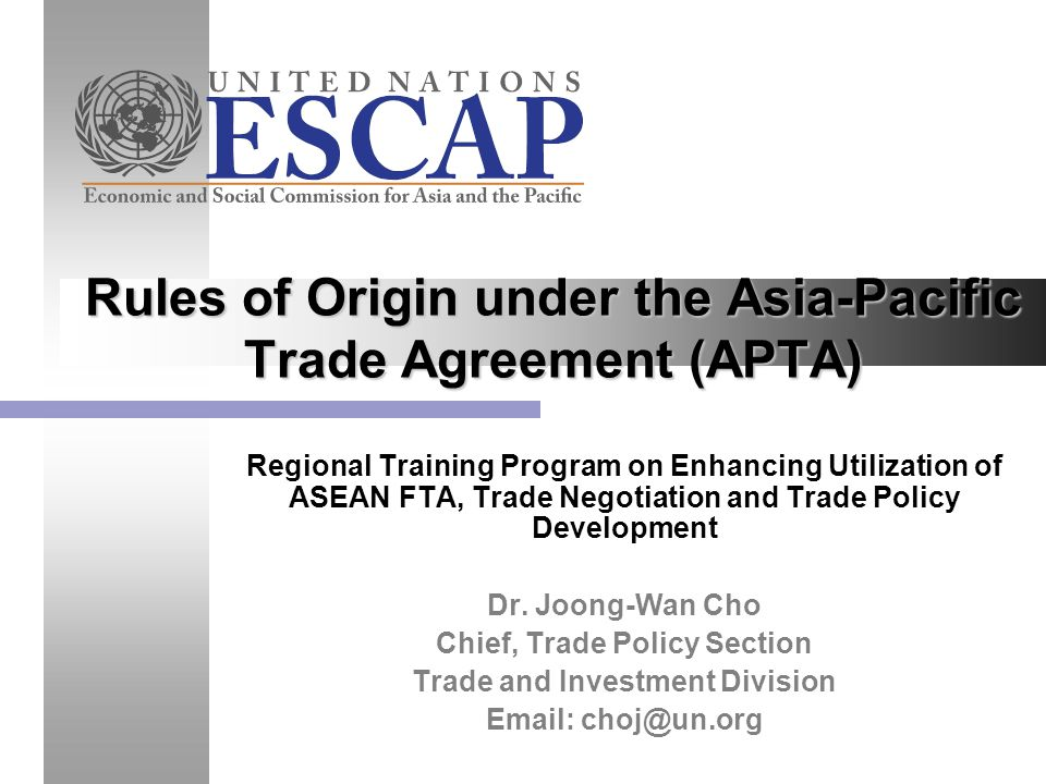 Rules Of Origin Under The Asia Pacific Trade Agreement Apta Ppt