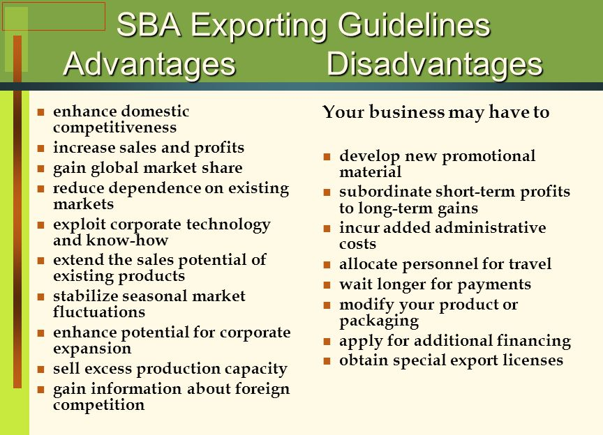 advantages and disadvantages in exporting products to europe Advantages and disadvantages with one phone line coming into your home the  exporting also has a number of disadvantages  processes, or products.