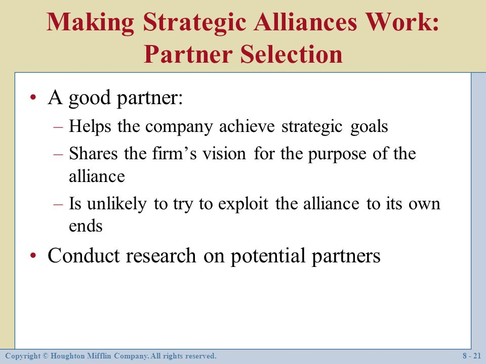 Making Strategic Alliances Work: Partner Selection
