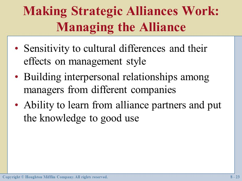 Making Strategic Alliances Work: Managing the Alliance