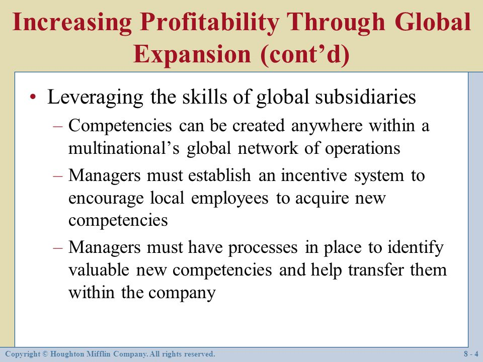 Increasing Profitability Through Global Expansion (cont'd)