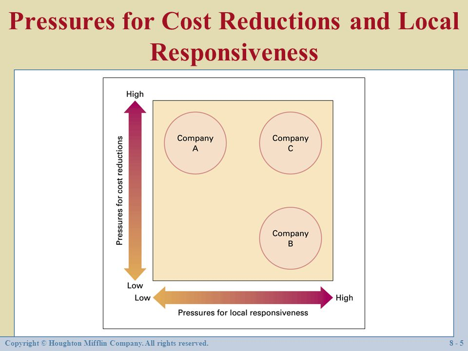 Pressures for Cost Reductions and Local Responsiveness