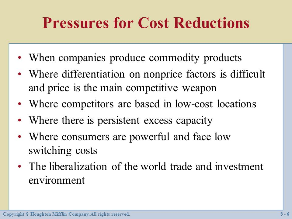 Pressures for Cost Reductions
