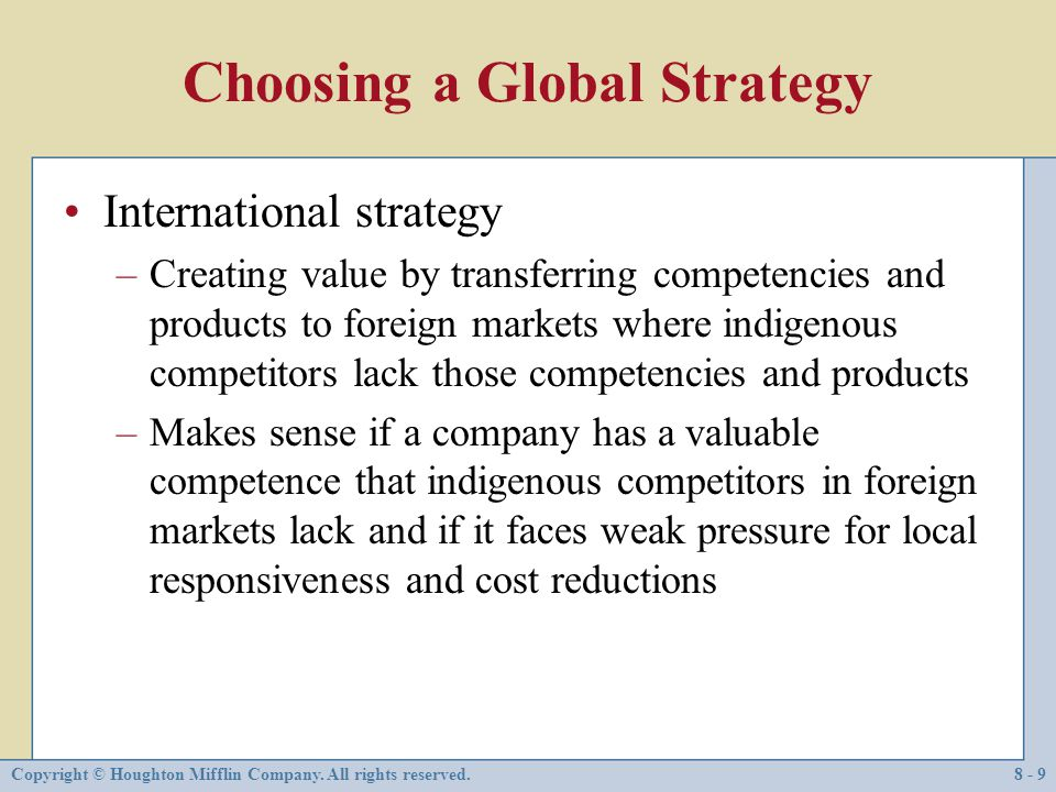 Choosing a Global Strategy