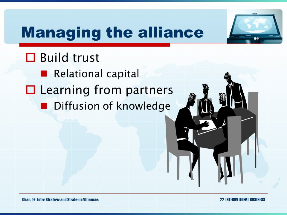 Managing the alliance Build trust Learning from partners