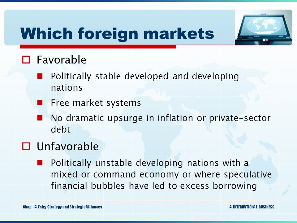 Which foreign markets Favorable Unfavorable
