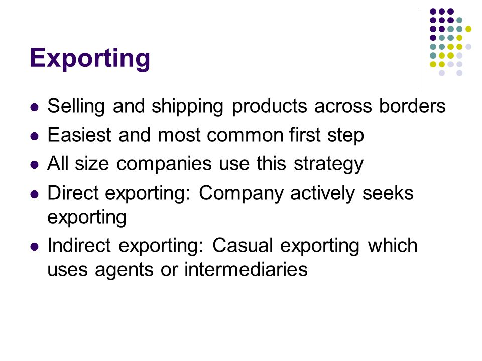 Market Entry Methods Exporting/Importing Licensing Franchising ...