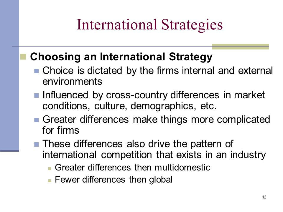 difference between global strategy transnational strategy and multidomestic strategy International management chapter 6 advantages of the transnational and international strategies with some of the local-adaptation advantages of the multidomestic strategy the more likely it is that the company should select a global transnational or international strategy.