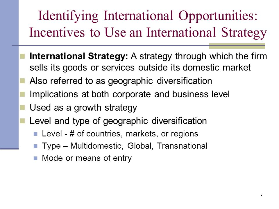 examples of global multidomestic or transnational strategies Global, transnational, international and multidomestic strategy multidomestic: low integration and high responsiveness companies with a multidomestic strategy have as aim to meet the needs and requirements of the local markets worldwide by customizing and tailoring their products and services extensively.