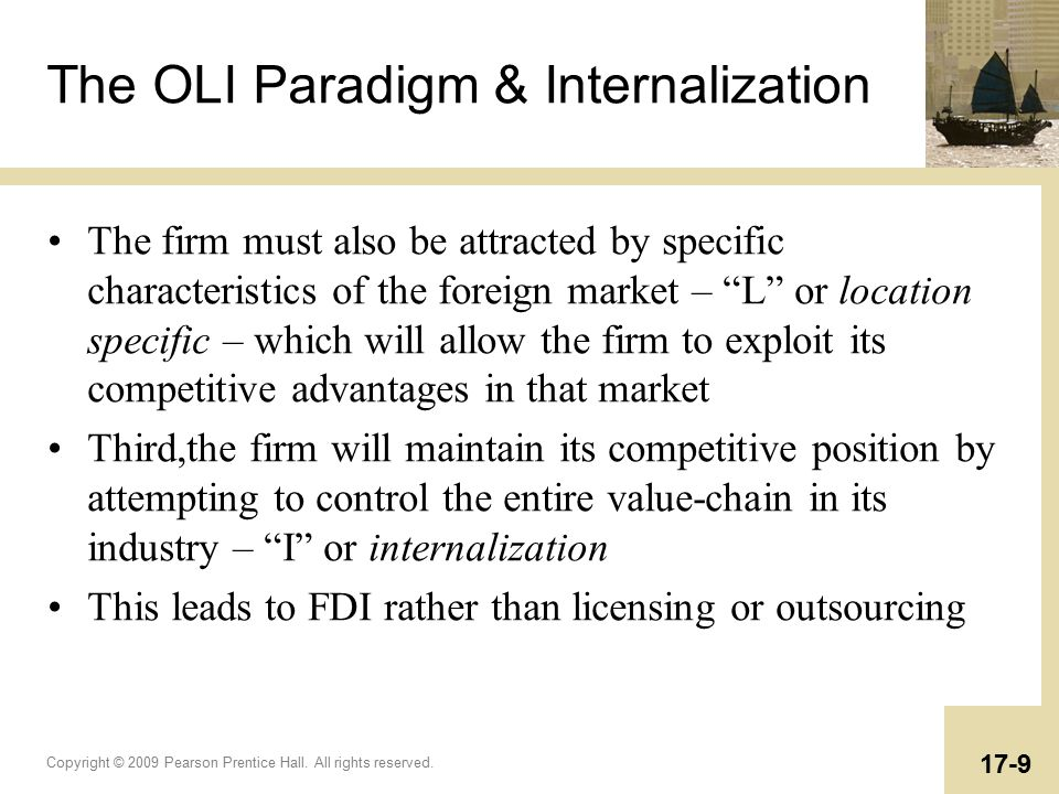 oli paradigm It uses the eclectic paradigm of dunning, (6) also known as the ownership-location-internalization advantages (oli) framework, adjusted to the specific circumstances of russian capital in the visegrad four.
