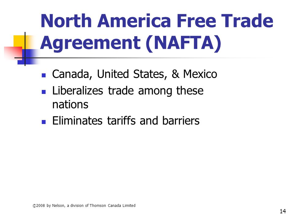 north american free trade agreement Get an answer for 'what is the purpose of nafta' and find homework help for other north american free trade agreement questions at enotes.