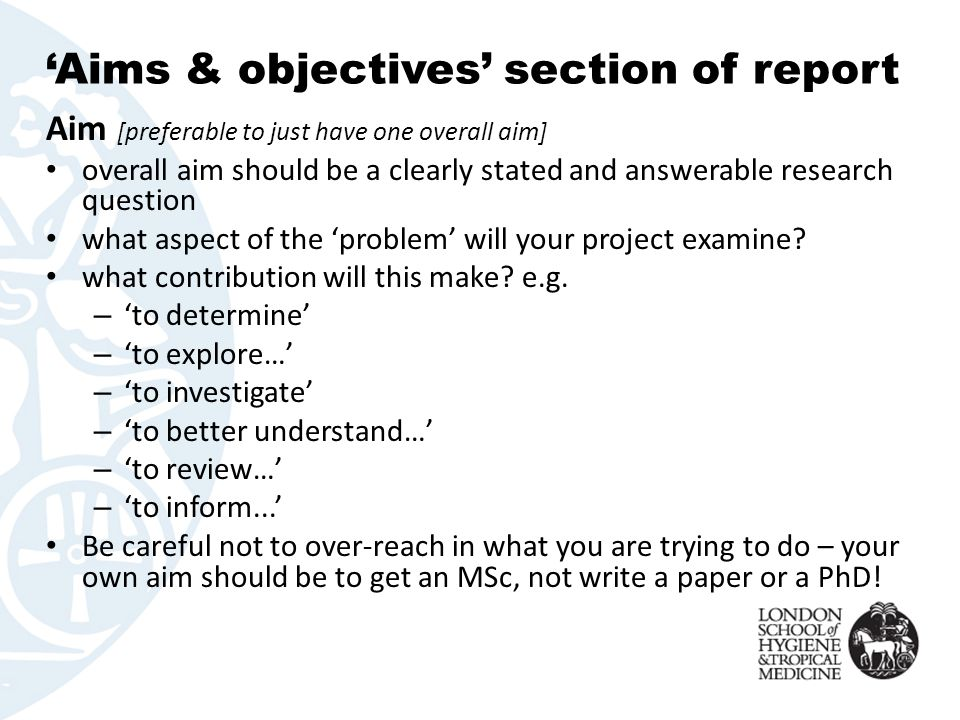 how to write the objective of a project report