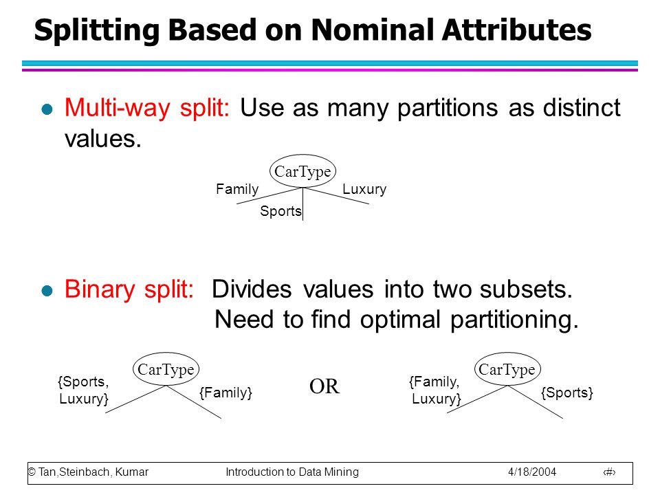 Splitting Based on Nominal Attributes