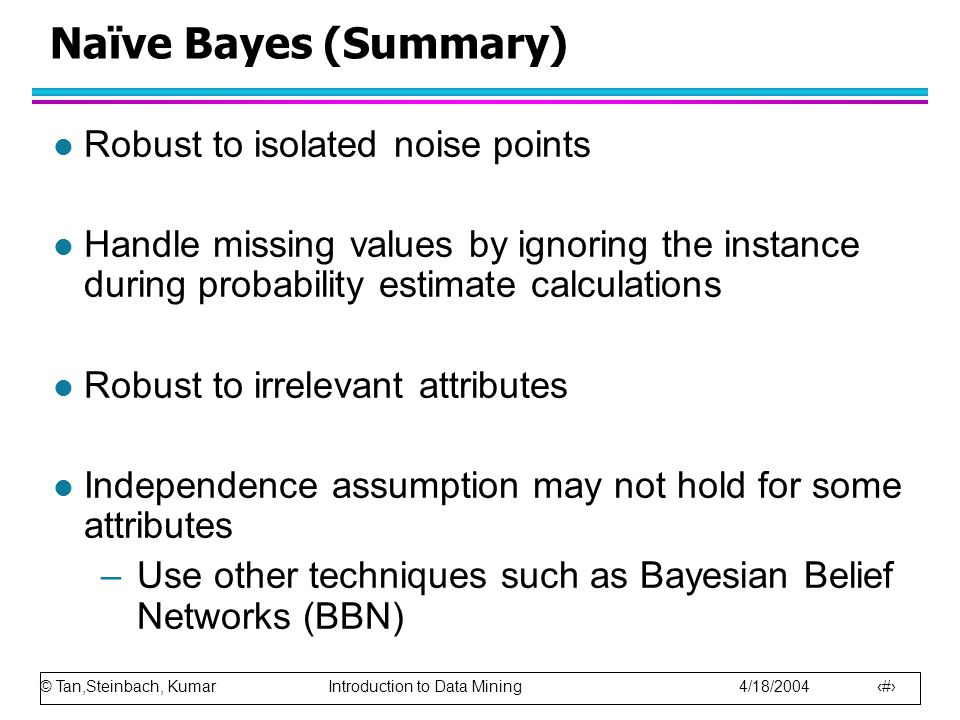 Naïve Bayes (Summary) Robust to isolated noise points