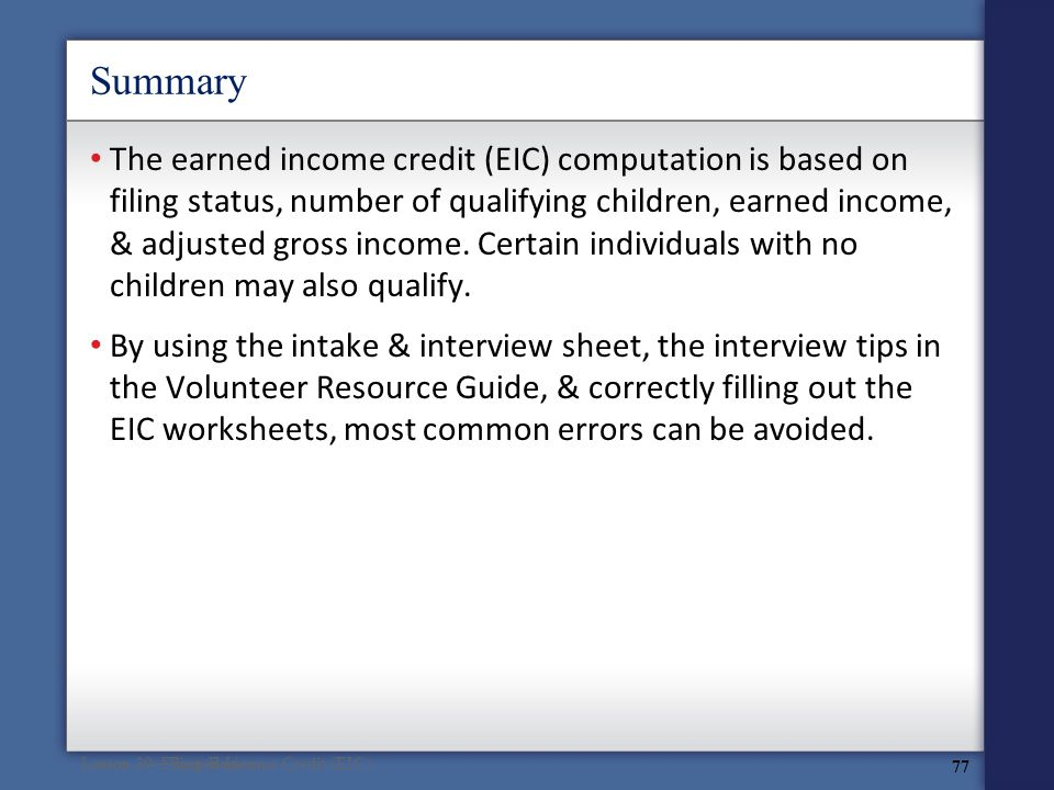 Volunteer Tax Assistance at ppt download – Earned Income Credit Eic Worksheet