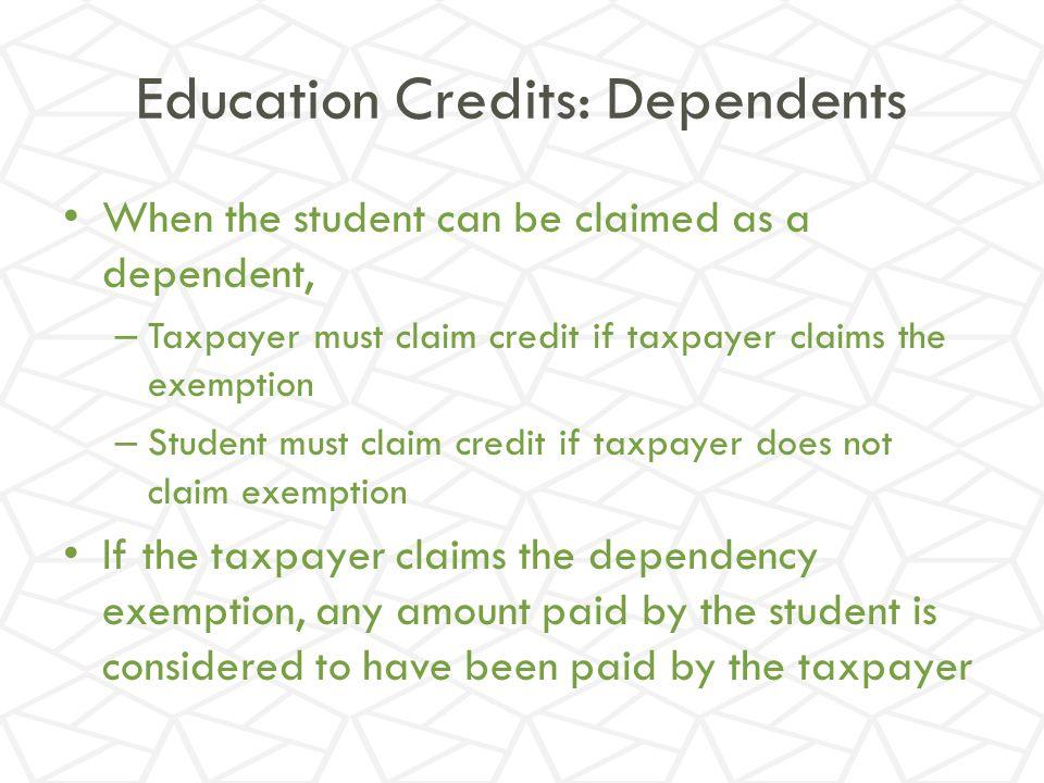Education Credits: Dependents