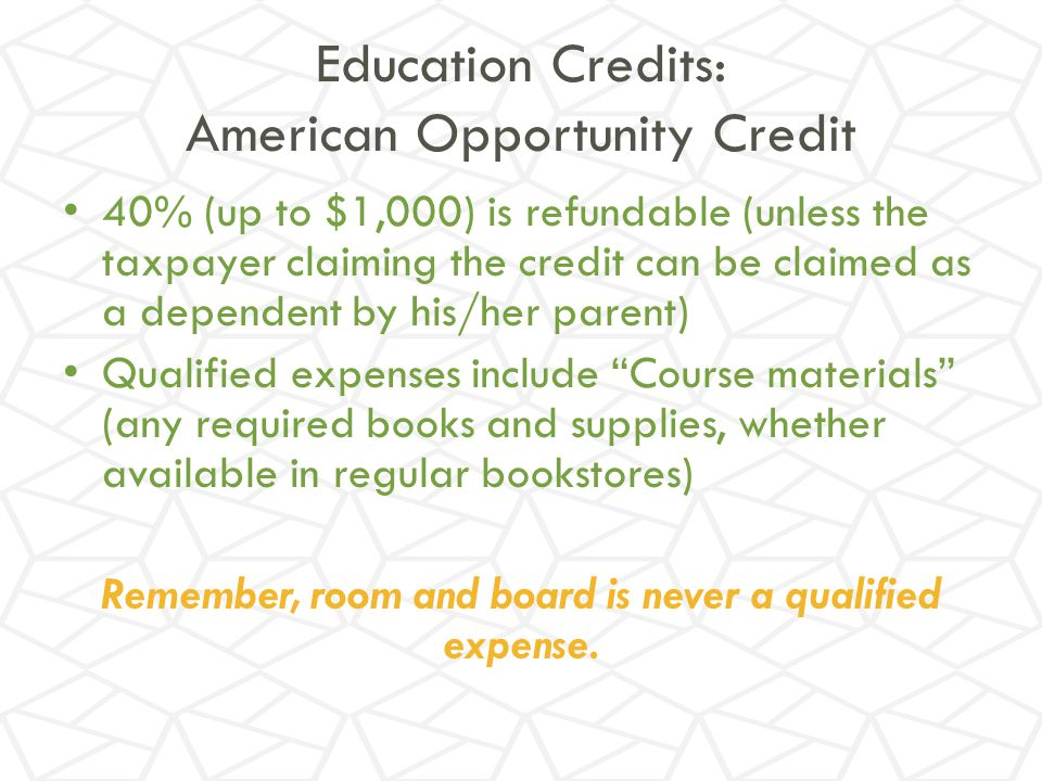 Education Credits: American Opportunity Credit
