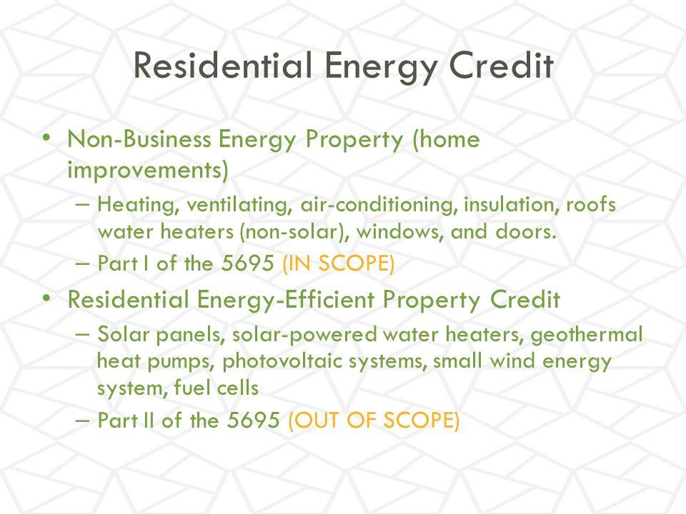 Residential Energy Credit