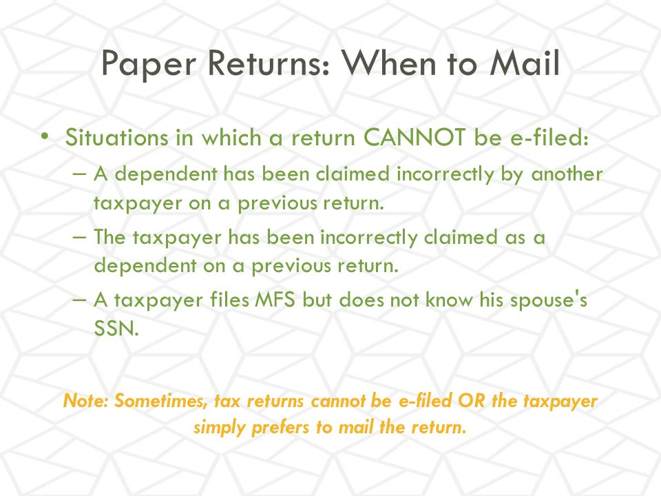 Paper Returns: When to Mail