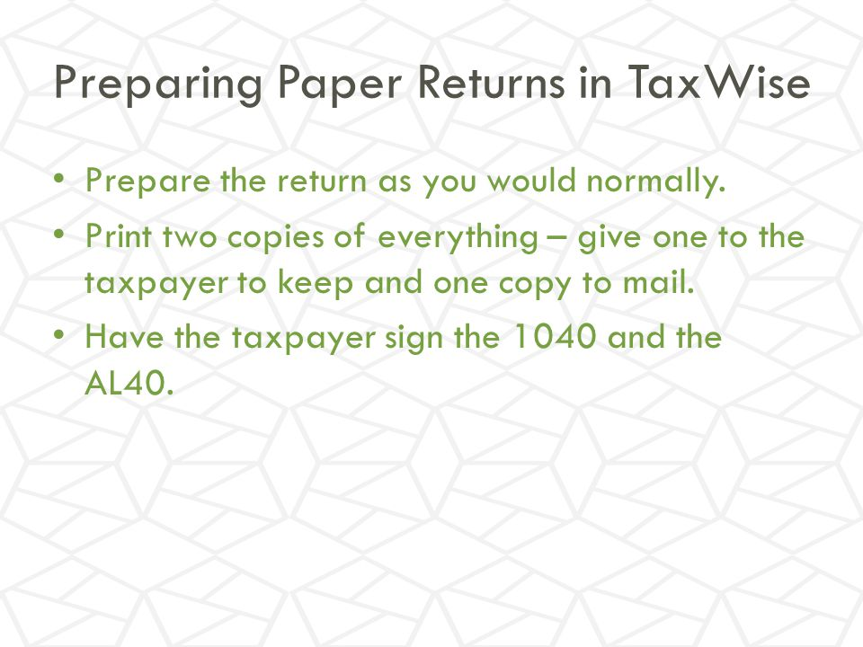 Preparing Paper Returns in TaxWise