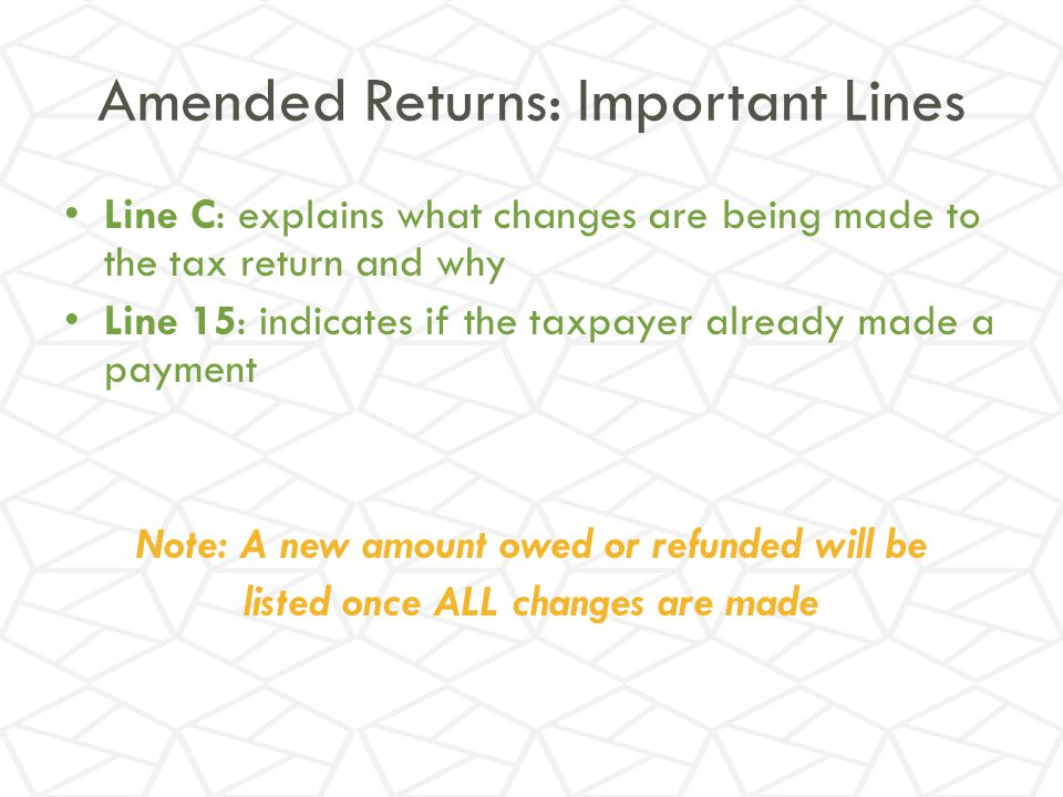 Amended Returns: Important Lines
