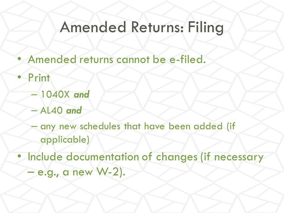 Amended Returns: Filing