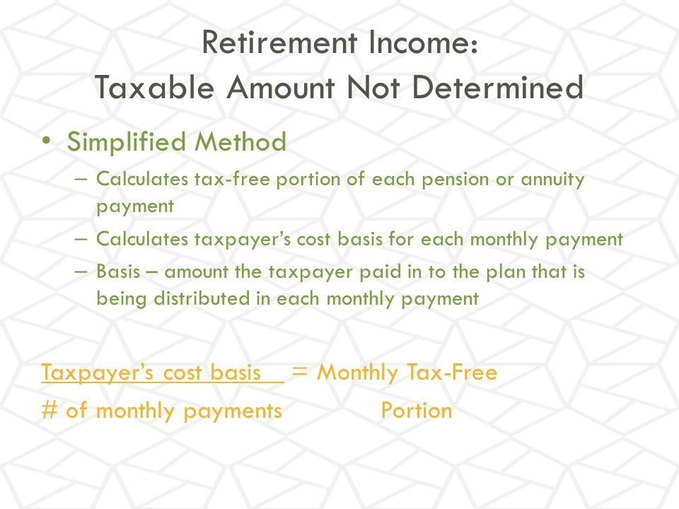 Retirement Income: Taxable Amount Not Determined