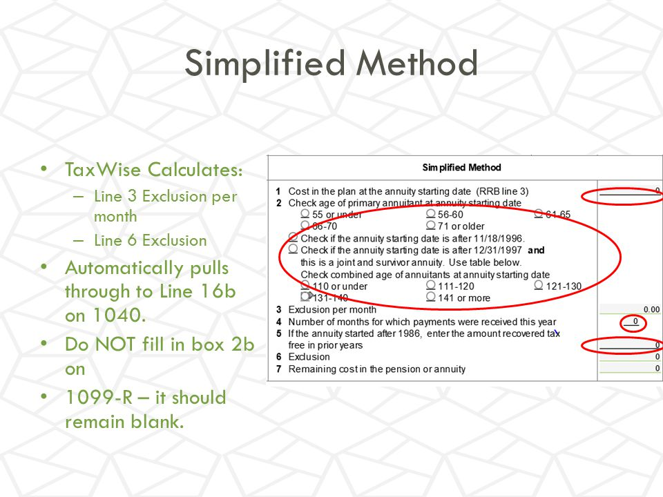 Simplified Method TaxWise Calculates: