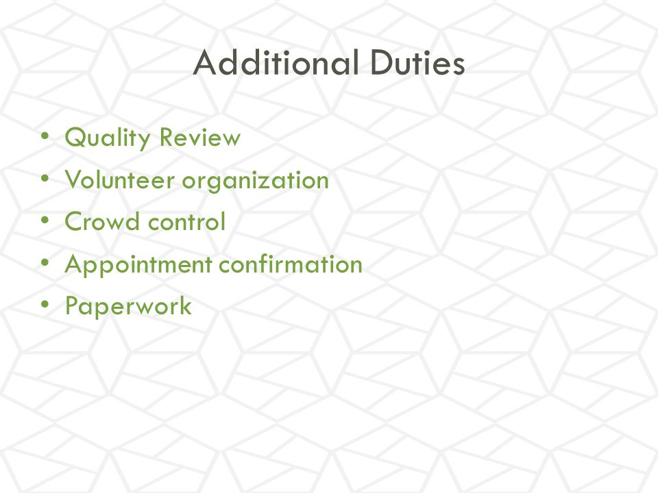 Additional Duties Quality Review Volunteer organization Crowd control