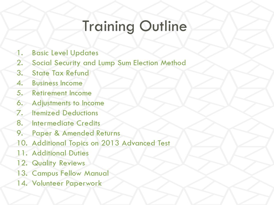Training Outline Basic Level Updates