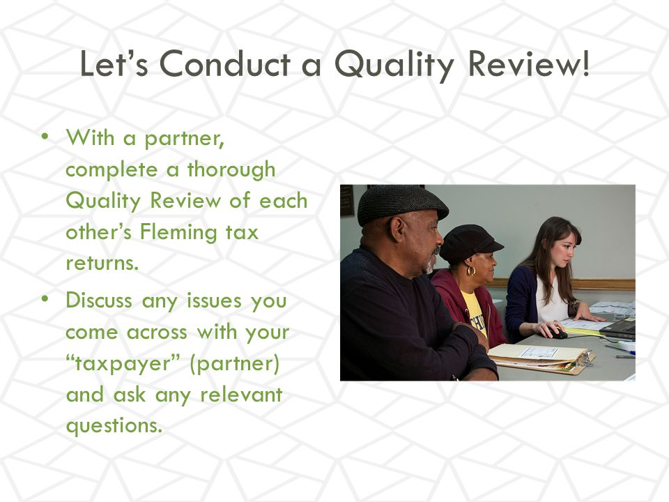 Let's Conduct a Quality Review!