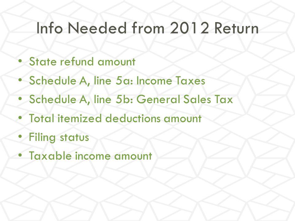 Info Needed from 2012 Return