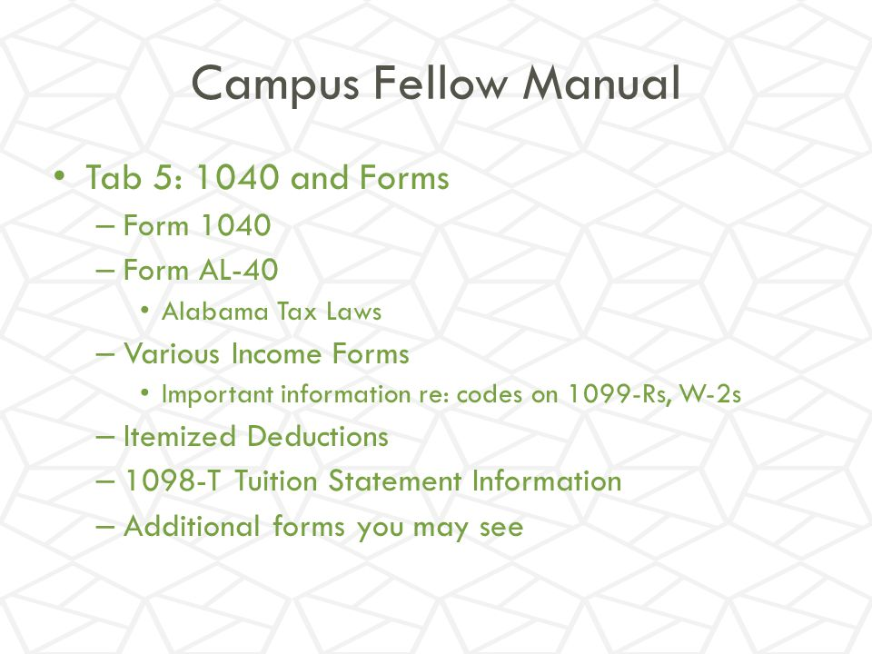 Campus Fellow Manual Tab 5: 1040 and Forms Form 1040 Form AL-40