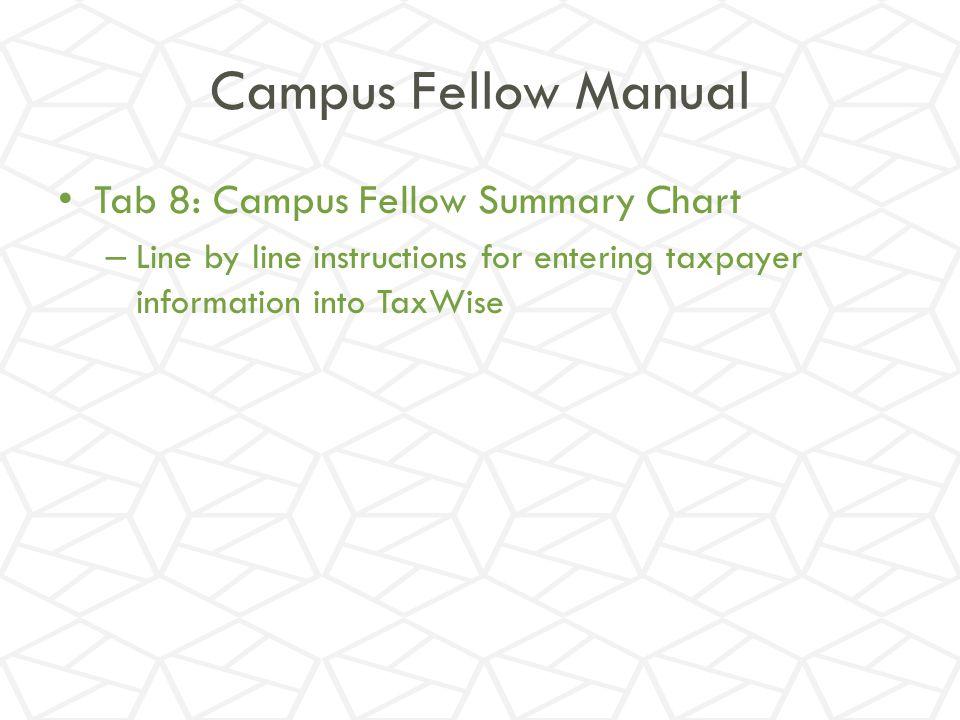 Campus Fellow Manual Tab 8: Campus Fellow Summary Chart