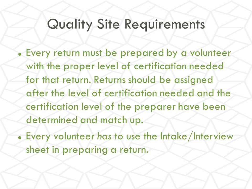 Quality Site Requirements