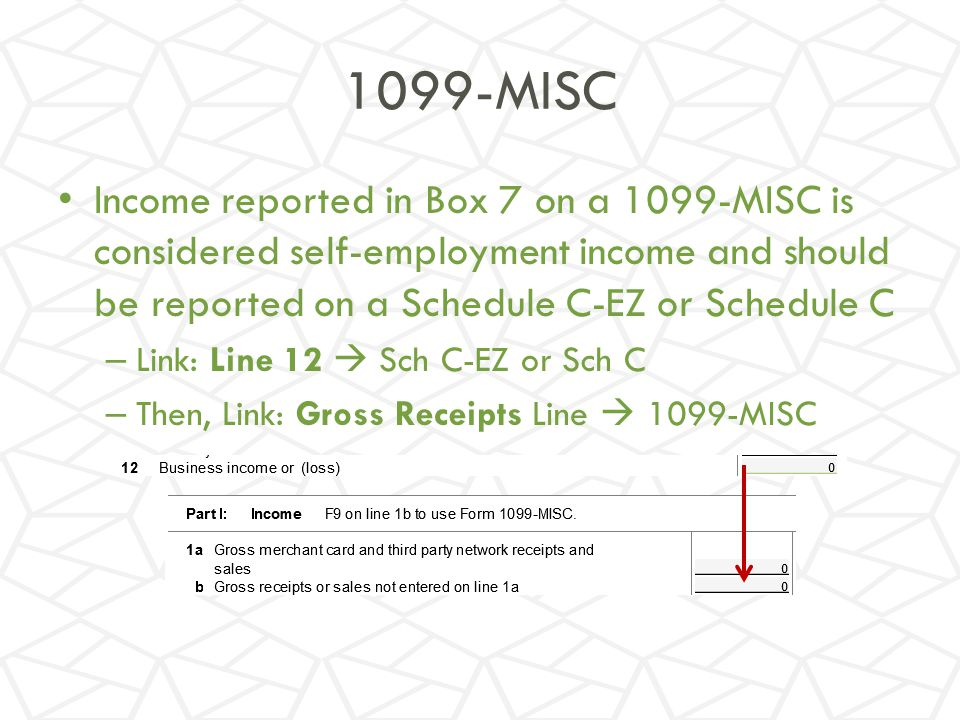 1099-MISC Income reported in Box 7 on a 1099-MISC is considered self-employment income and should be reported on a Schedule C-EZ or Schedule C.
