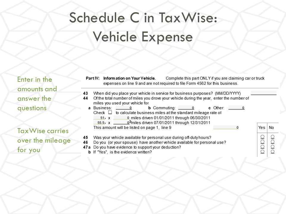 Schedule C in TaxWise: Vehicle Expense