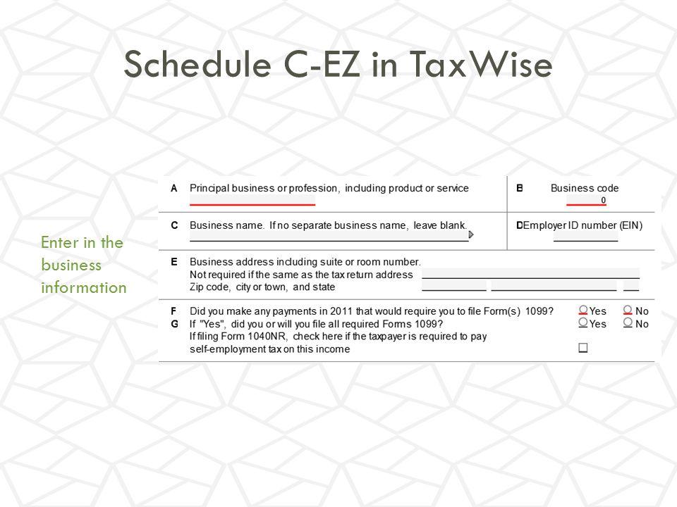Schedule C-EZ in TaxWise