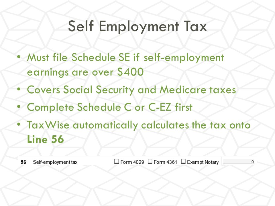 Self Employment Tax Must file Schedule SE if self-employment earnings are over $400. Covers Social Security and Medicare taxes.