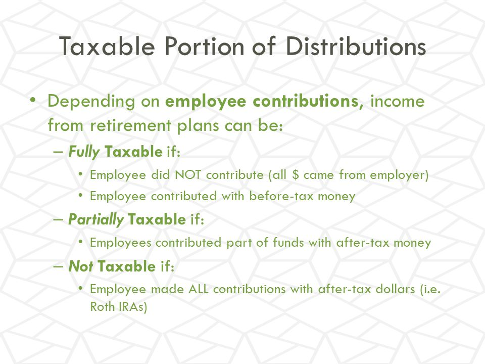 Taxable Portion of Distributions